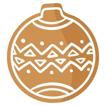 크리스마스 축제 크리스마스 트리 장식 진저 쿠키는 흰색 장식으로 덮여 있습니다.