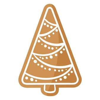 크리스마스 축제 크리스마스 트리 진저 쿠키는 흰색 장식으로 덮여 있습니다. 기쁜 성 탄과 새 해 복 많이 받으세요 개념입니다.