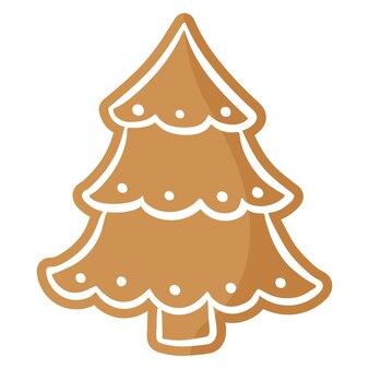 크리스마스 축제 크리스마스 트리진저브레드 쿠키는 흰색 장식으로 덮여 있습니다.