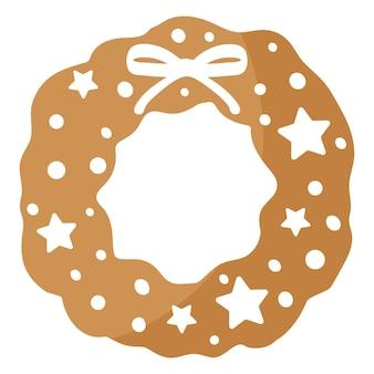 크리스마스 축제 크리스마스 화환 진저 쿠키는 흰색 장식으로 덮여 있습니다. 기쁜 성 탄과 새 해 복 많이 받으세요 개념입니다.