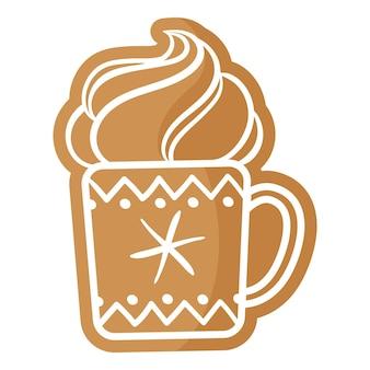 흰색 장식으로 덮인 차 또는 커피 진저브레드 쿠키의 크리스마스 축제 컵. 기쁜 성 탄과 새 해 복 많이 받으세요 개념입니다.