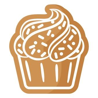크리스마스 축제 컵케이크 진저브레드 쿠키는 흰색 장식으로 덮여 있습니다.