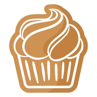 흰색 장식으로 덮인 크리스마스 축제 컵케이크 진저. 기쁜 성 탄과 새 해 복 많이 받으세요 개념입니다.