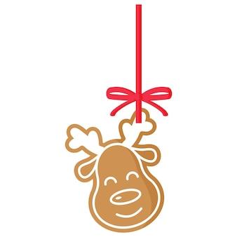 크리스마스 축제 사슴 진저 브레드 쿠키는 빨간 리본이 달린 흰색 장식으로 덮여 있습니다.