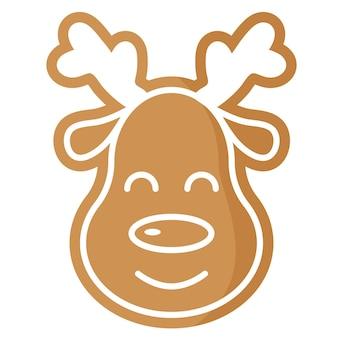 크리스마스 축제 사슴 진저 쿠키는 흰색 장식으로 덮여 있습니다.