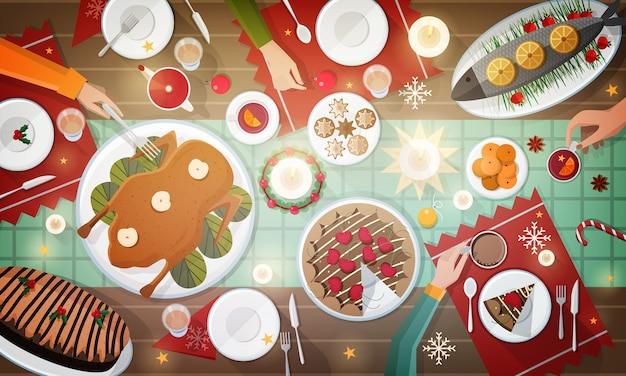 Christmas festive dinner. delicious traditional holiday meals lying on plates