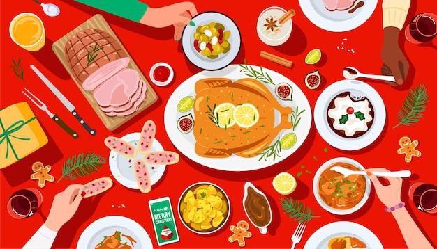 크리스마스 축제 저녁 식사