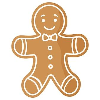 크리스마스 축제 진저 브레드 맨 쿠키는 흰색 장식으로 덮여 있습니다. 기쁜 성 탄과 새 해 복 많이 받으세요 개념입니다.