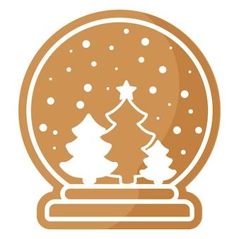白いアイシングで覆われた雪のジンジャーブレッドクッキーとクリスマスのお祝いのガラス玉。メリークリスマスと新年あけましておめでとうございますのコンセプト。