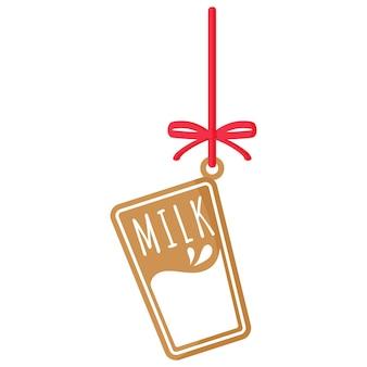 빨간 리본으로 흰색 장식으로 덮인 우유 진저 쿠키의 크리스마스 축제 유리. 기쁜 성 탄과 새 해 복 많이 받으세요 개념입니다.