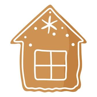 크리스마스 축제 집 진저 쿠키는 흰색 장식으로 덮여 있습니다.