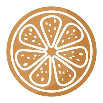 크리스마스 축제 레몬 또는 오렌지 슬라이스 진저 쿠키는 흰색 장식으로 덮여 있습니다. 기쁜 성 탄과 새 해 복 많이 받으세요 개념입니다.