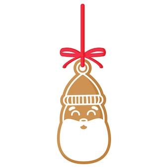 크리스마스 축제 산타 클로스 진저 쿠키는 빨간 리본으로 흰색 장식으로 덮여 있습니다.