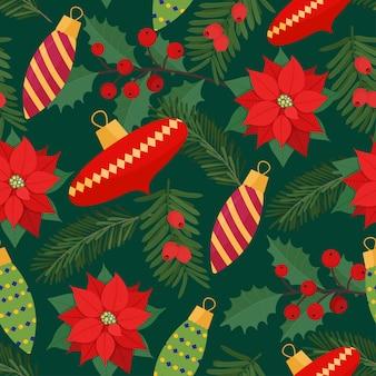 デコレーションボールとクリスマスの植物とクリスマスのお祝いのシームレスなパターン。