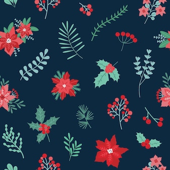 Christmas festive seamless pattern with green and red traditional holiday decorations on dark