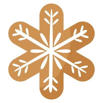 흰색 장식으로 덮인 크리스마스 축제 눈송이 쿠키. 기쁜 성 탄과 새 해 복 많이 받으세요 개념입니다.