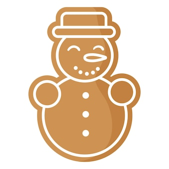 크리스마스 축제 눈사람 진저 쿠키는 흰색 장식으로 덮여 있습니다.