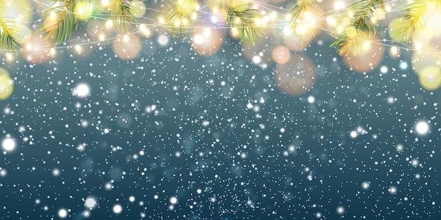 Рождественский праздничный сверкающий красочный, золотой светящийся фон с падающим снегом.