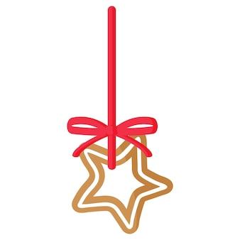 크리스마스 축제 스타 진저브레드 쿠키는 빨간 리본으로 장식된 흰색 장식으로 덮여 있습니다. 기쁜 성 탄과 새 해 복 많이 받으세요 개념입니다.