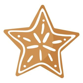 크리스마스 축제 스타 진저 브레드 쿠키는 흰색 장식으로 덮여 있습니다.