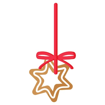 크리스마스 축제 스타 진저브레드는 빨간 리본이 달린 흰색 장식으로 덮여 있습니다.