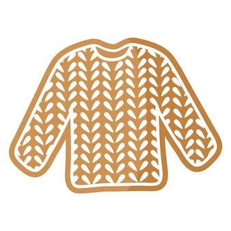 흰색 장식으로 덮인 크리스마스 축제 스웨터 진저. 기쁜 성 탄과 새 해 복 많이 받으세요 개념입니다.