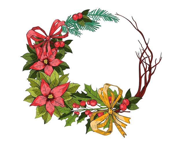 Рождественский праздничный венок в стиле винтажной гравировки с еловыми ветками, листьями падуба, пуансеттия, красным бантом. граница праздника новый год или рождество, изолированные на белом. рождественский традиционный сосновый венок
