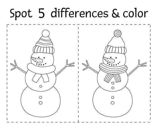 Рождество найти отличия и цветная игра для детей. зимняя познавательная деятельность с забавным снеговиком. лист для печати с улыбающимся персонажем. милая новогодняя раскраска для детей