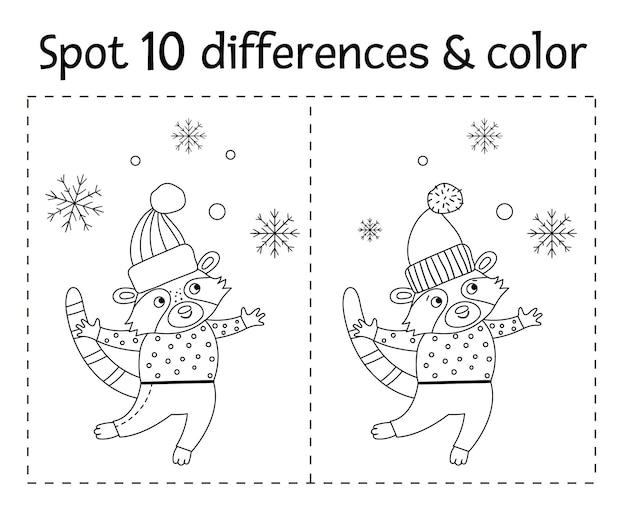 Рождество найти отличия игры и цвета для детей. зимняя познавательная деятельность с забавным енотом и снежинками. рабочий лист для печати для детей. милая новогодняя раскраска с животным в свитере