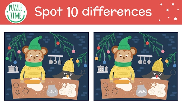 Игра «найди отличия на рождество» для детей. зимние познавательные мероприятия с забавными животными на печенье. рабочий лист для печати с улыбающимися персонажами. симпатичная новогодняя головоломка для детей