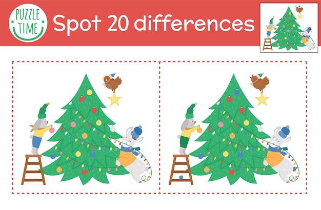 Игра «найди отличия на рождество» для детей. зимняя познавательная деятельность с забавными животными, украшающими елку. рабочий лист для печати с улыбающимися персонажами. симпатичная новогодняя головоломка для детей