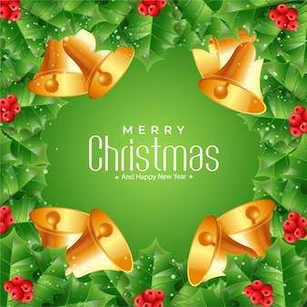 Christmas fir branches and bells background