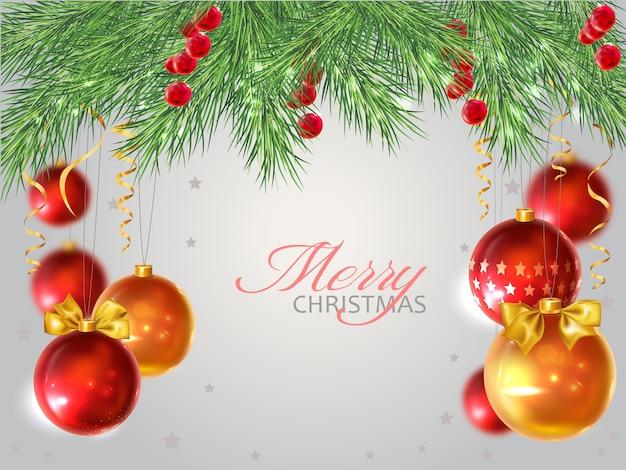 クリスマスのモミの現実的な装飾