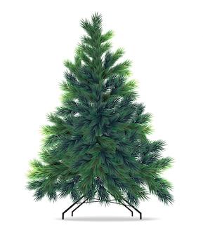 Рождественская ель реалистично, с рождеством, зимний декор, набор изолированных, иллюстрация зеленый ель