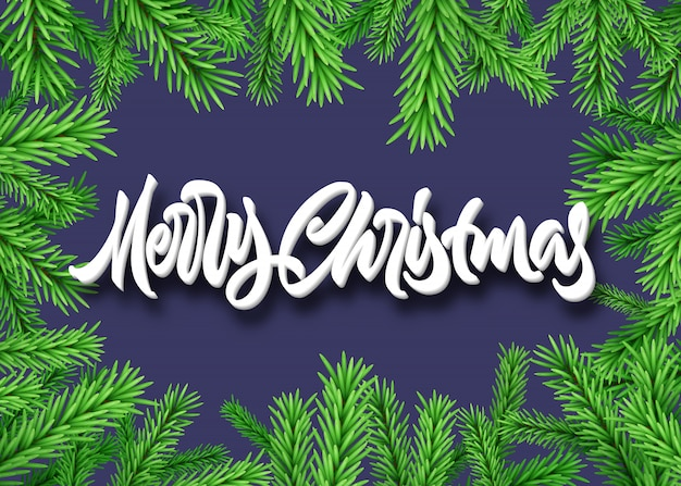 Christmas fir or spruce frame with merry christmas calligraphic lettering
