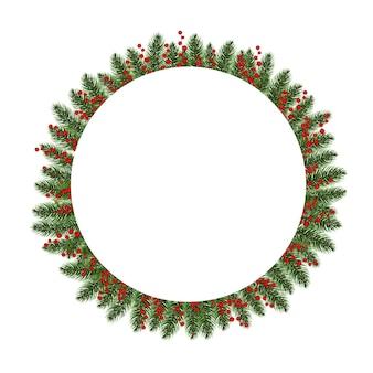 ホリーベリーホワイトの背景を持つクリスマスモミの木のバナー
