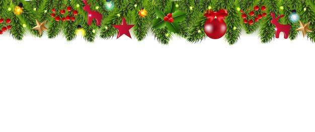 Christmas fir tree border and christmas toys with gradient mesh