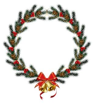 白で隔離の鐘とリボンとクリスマスのモミの木のフレーム。