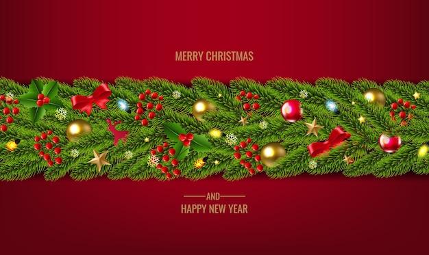 Christmas fir tree garland decorated