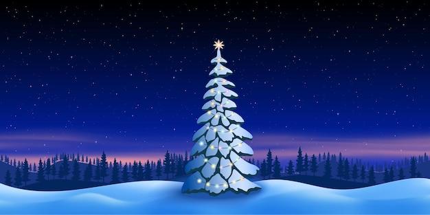 겨울 풍경의 배경에 크리스마스 전나무, 별이 있는 밤하늘