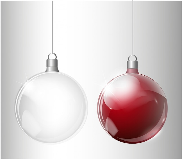 Christmas fir tree and realistic transparent silver christmas ball on a light abstract background
