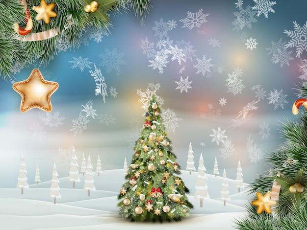 Christmas fir tree on winter landscape.