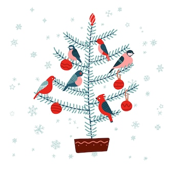 Christmas fir tree with birds, decorated with baubles. isolated on white background.