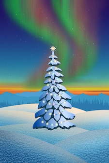 Christmas fir tree with garland on the background of polar lights, winter landscape