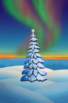 Новогодняя елка с гирляндой на фоне полярного сияния, зимний пейзаж