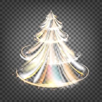 火花と輝きの波とクリスマスのモミの木