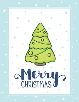 Christmas fir tree with text merry christmas and snow