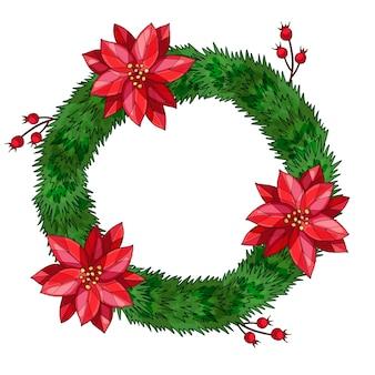 ポインセチアとベリーのクリスマスモミの花輪。手描きの水彩イラスト。孤立
