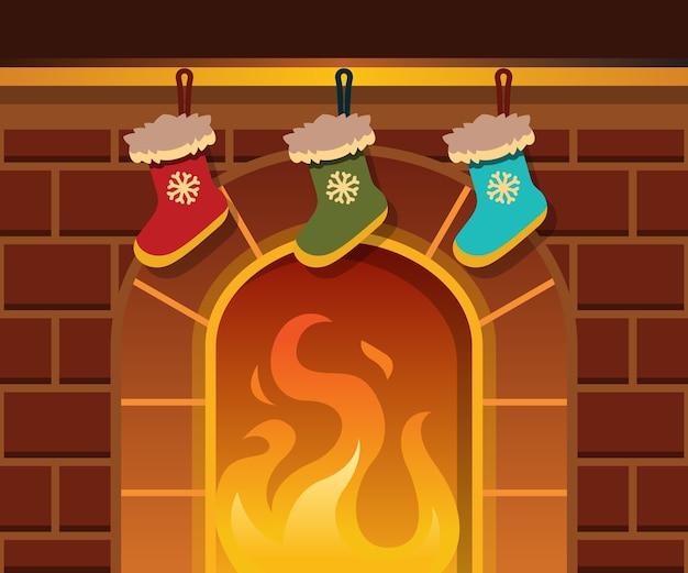 Рождественский камин и рождественские носки
