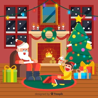 Christmas fireplace background santa with kid